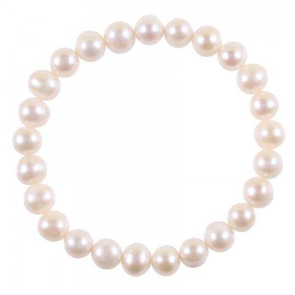 Süsswasser Perlen Armband 6mm weiß-0