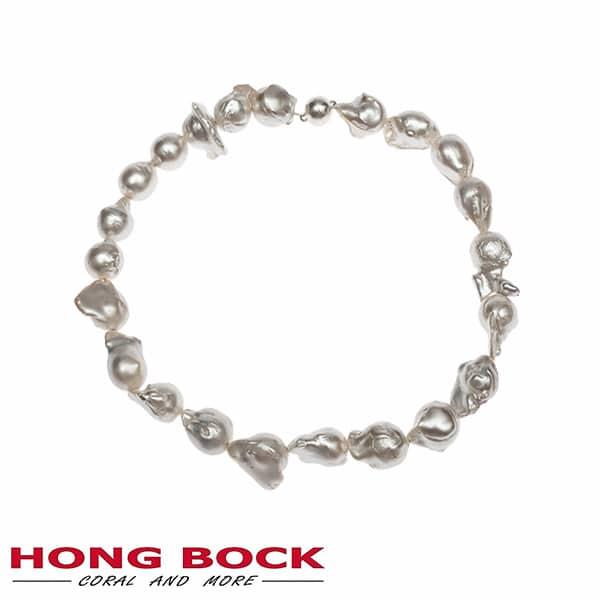 HONG BOCK-Süsswasser Perlen kette Barocke in 15x20mm weiß-2091