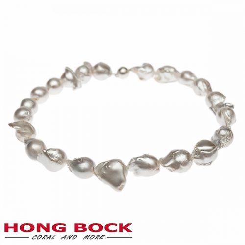 HONG BOCK-Süsswasser Perlen kette Barocke in 15x20mm weiß-0