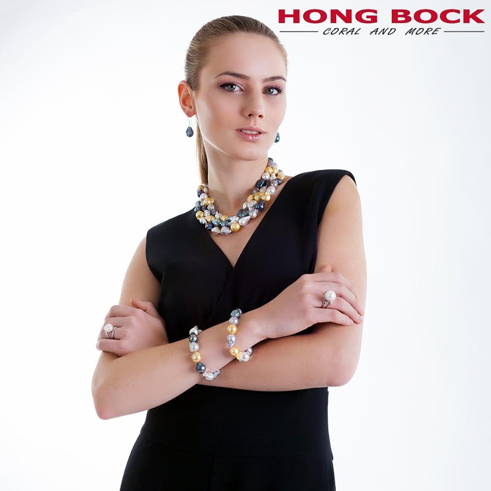 HONG BOCK-Süsswasser Perlen Barocke Armband in Mutiecolour -2683