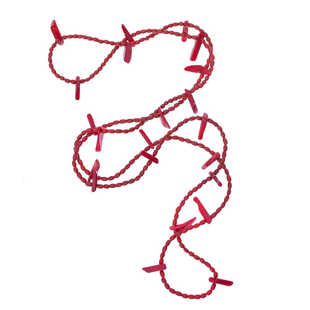 Design Bambuskorallen wickel Kette rot in 120cm lang.-2166