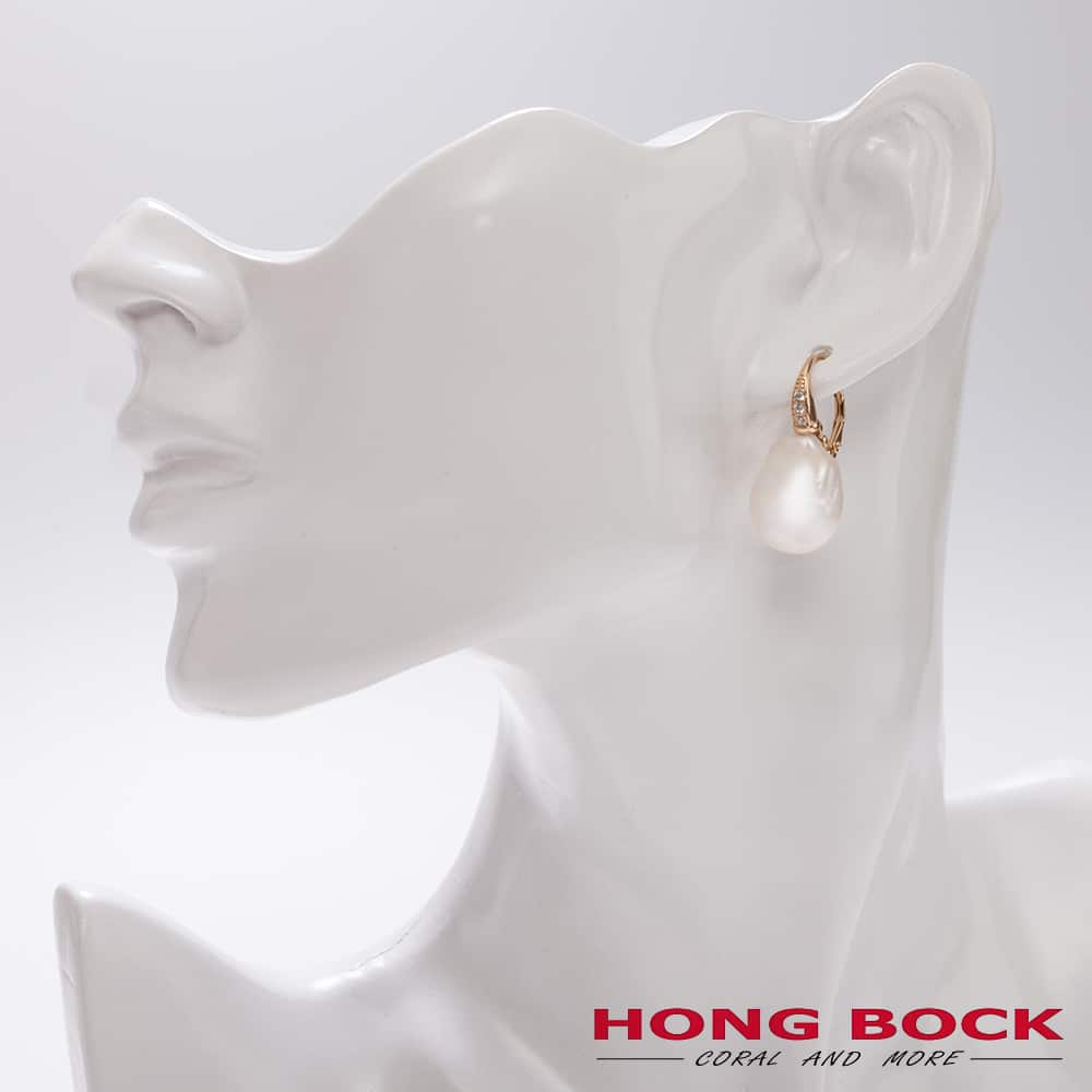 HONG BOCK-Barock weiße Perle Ohrringe in Silbervergoldet geschlossend Hagen-2503