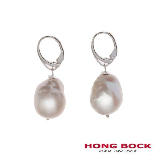 HONG BOCK-Barock weiße Perle Ohrringe in Silbervergoldet geschlossend Hagen-0