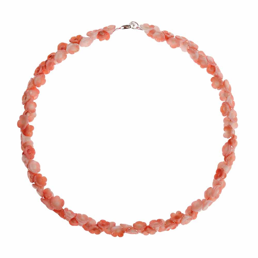 HONG BOCK-Bambuskorallen Kette Rosen in pink-0