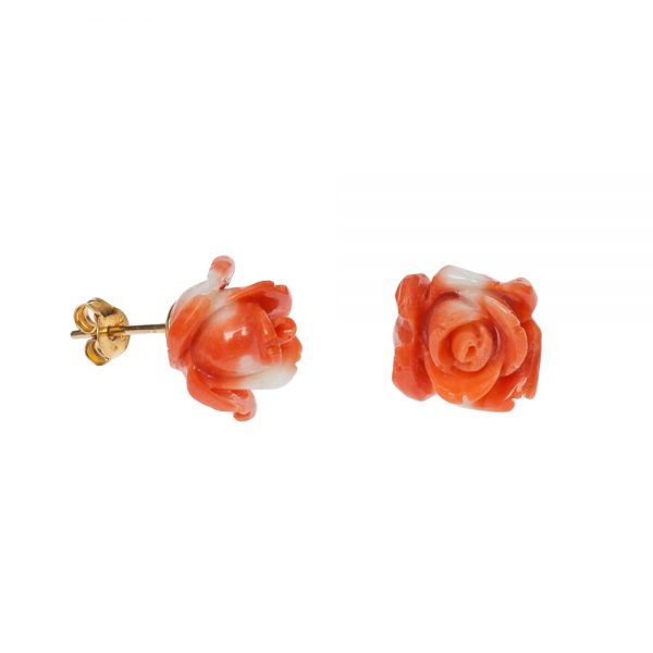 Naturkoralle Rosen Ohrstecker orange-weiß-2180