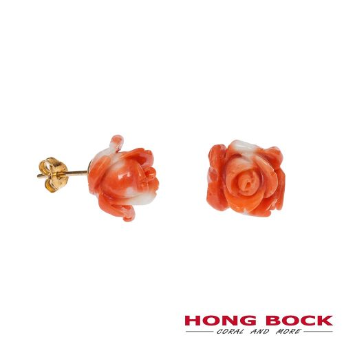 Naturkoralle Rosen Ohrstecker orange-weiß-0