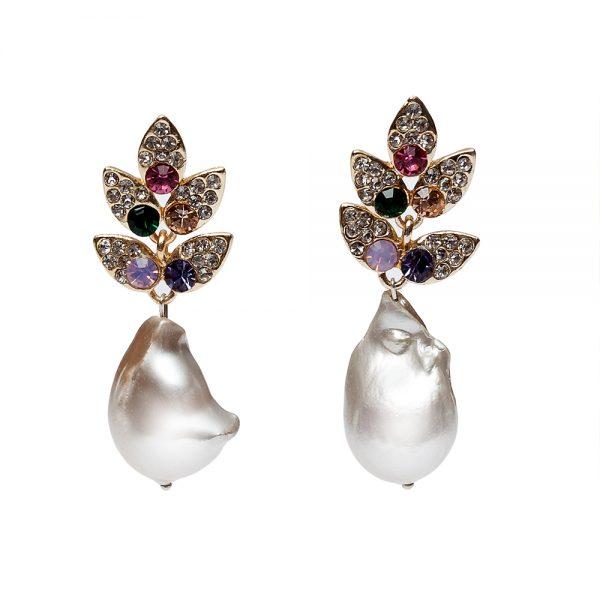 HONG BOCK-Design - Funkelnde Ohrringe mit Süßwasser-Barockperlen, Strasssteinen und Kristallen verziert-2223