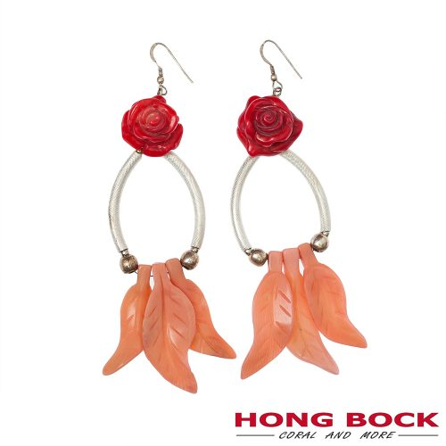 HONG BOCK-Design Rosen Ohrringe in pink und rot-0