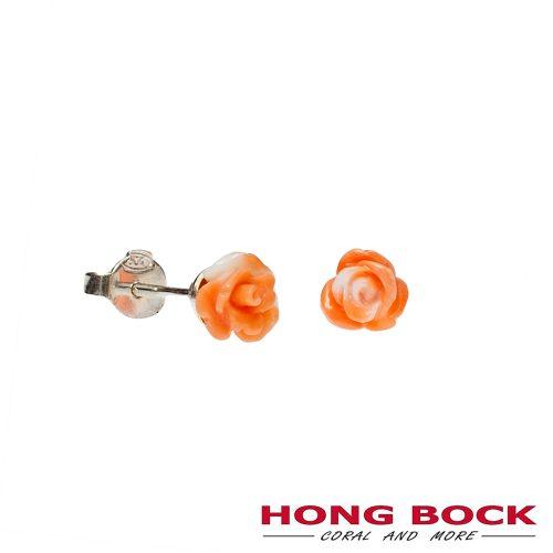 Naturkoralle Rosen Ohrstecker hell orange in 6mm-0