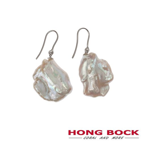 HONG BOCK-Design - Weiße Süßwasser-Barockperlen-Ohrringe-0