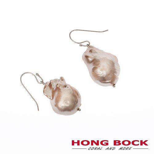HONG BOCK-Barock champagne Perle Ohrringe mit Silberhagen-0