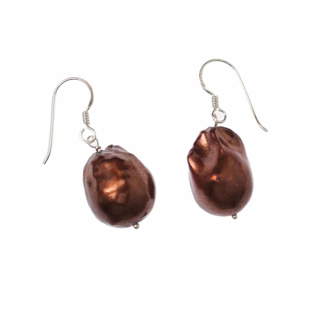 HONG BOCK-Barock Bordeaux Perle Ohrringe mit Silberhagen-2214