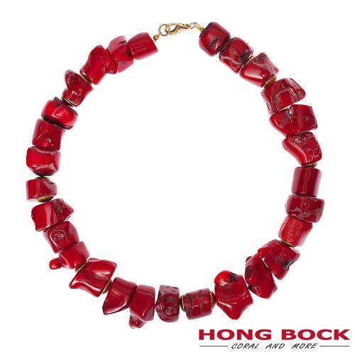 HONG BOCK-Bambuskoralle nugget kette rot-0
