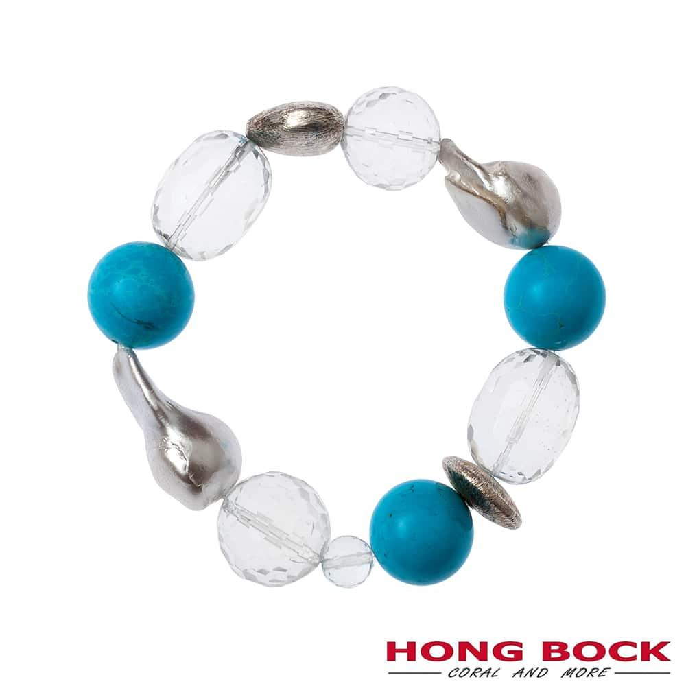 HONG BOCK-Design - Barockperlen-Armband mit Bergkristallen und türkisfarbenen Howlithen-2238