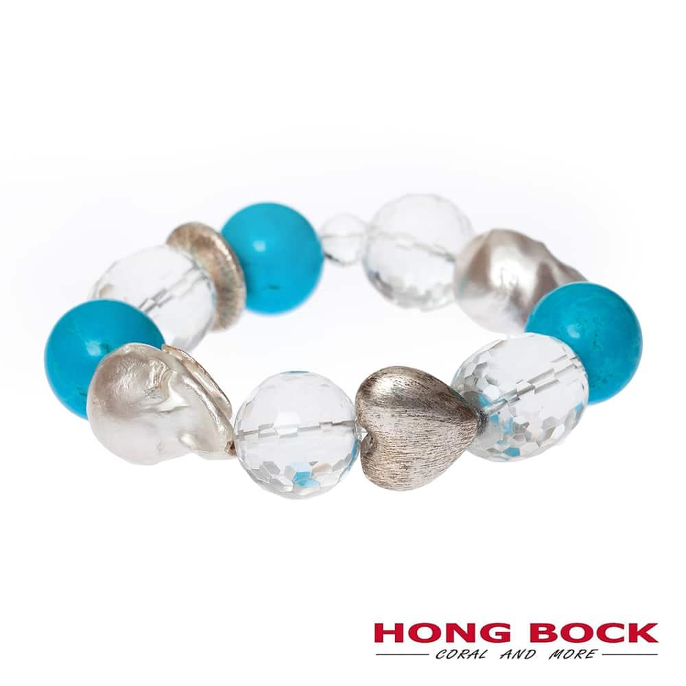 HONG BOCK-Design - Barockperlencollier mit Bergkristallen und türkisfarbenen Howlithen-2239