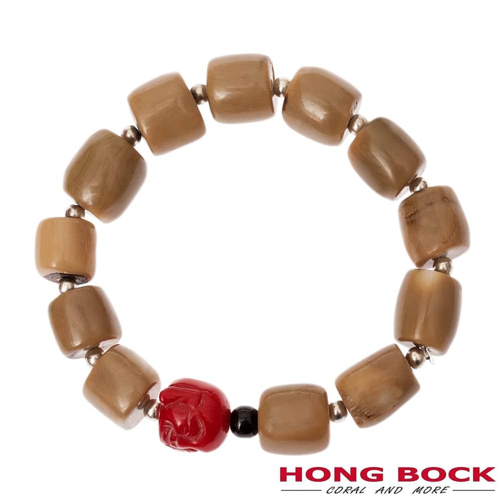 HONG BOCK-Bambuskoralle natur mit Buddhakopf in beige und rot-0