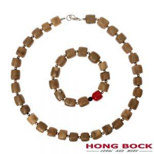 HONG BOCK-Bambuskoralle Natur kette und Armband-0