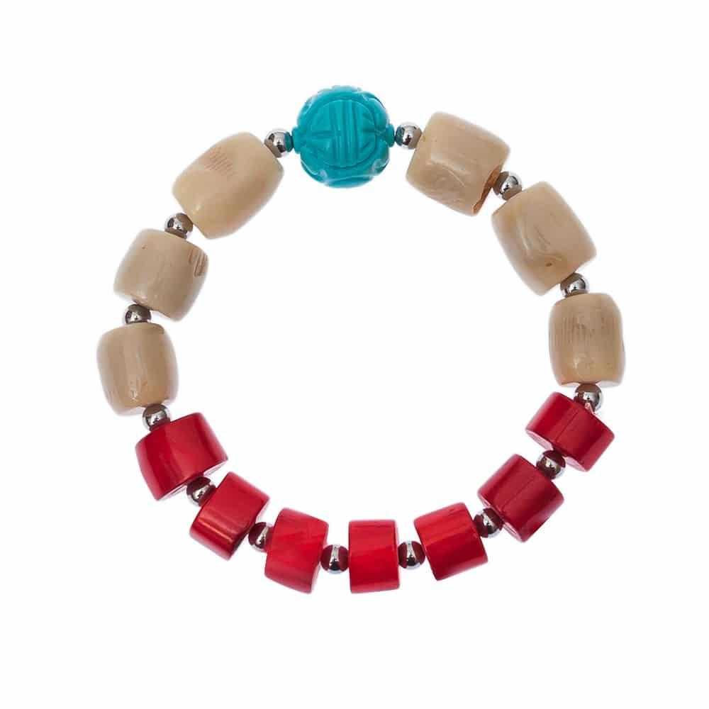 HONG BOCK-Design Armband in Koralle und Türkis-2258