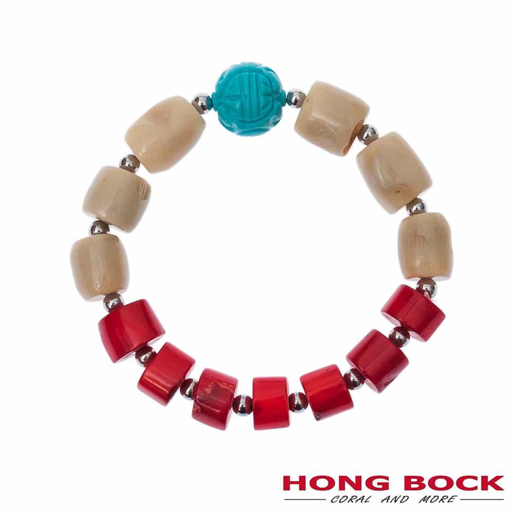 HONG BOCK-Design Armband in Koralle und Türkis-2230