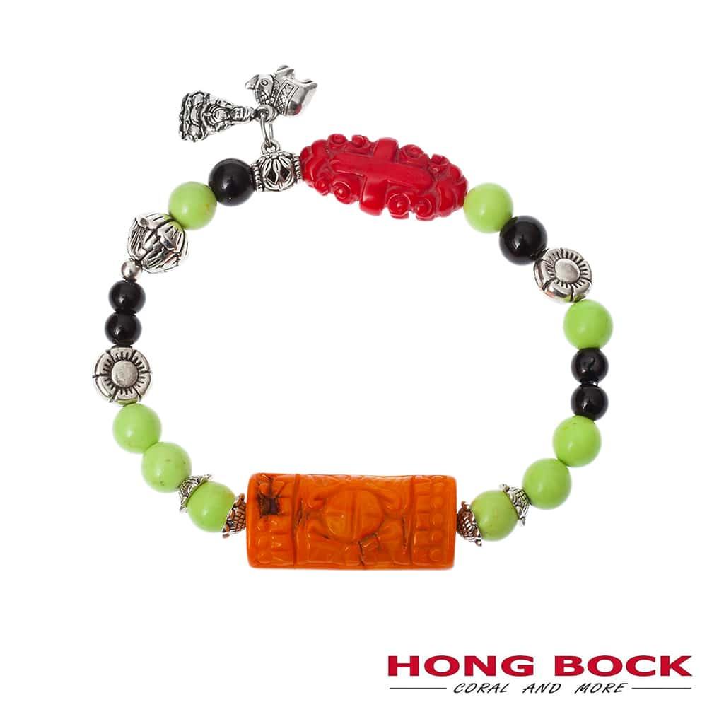 HONG BOCK-Design Armband von Bambuskorallen und schwarze Onyx-2232