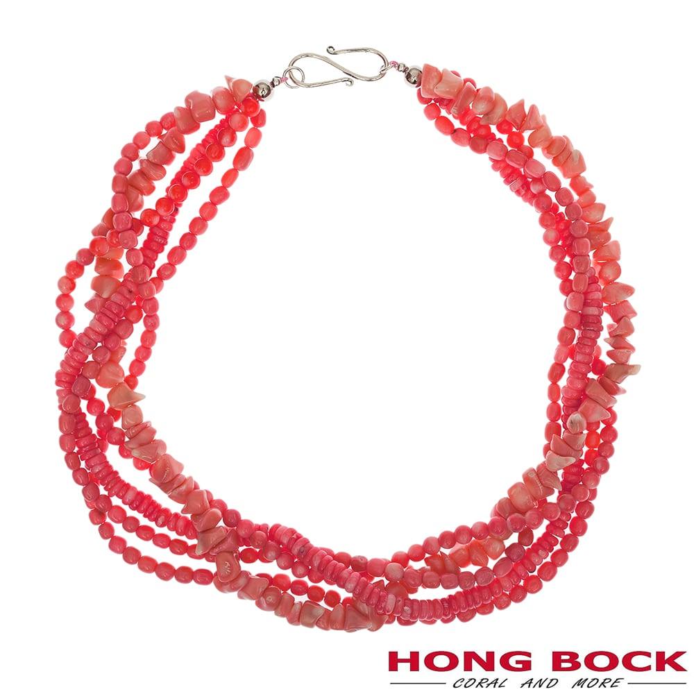 HONG BOCK-Design - 5 reihige Bambuskorallenkette in lachsrot, 55cm lang-2311