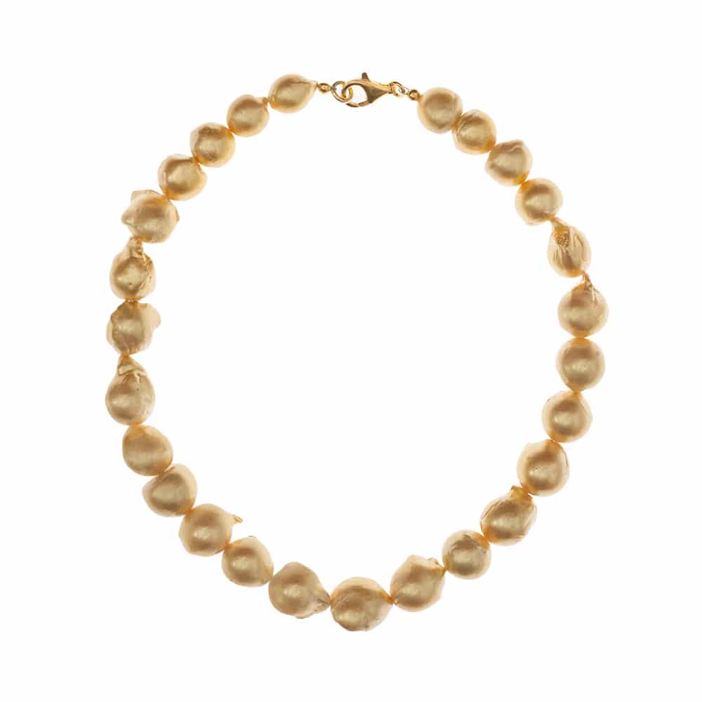 HONG BOCK-Süsswasser Perlen kette Barocke in ca 15x17mm gold mit Carabiener Verschluss.-2333