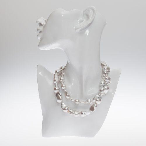 HONG-BOCK-Süsswasser Perle Barocke Perle kette in weiß ,90 cm lang-0