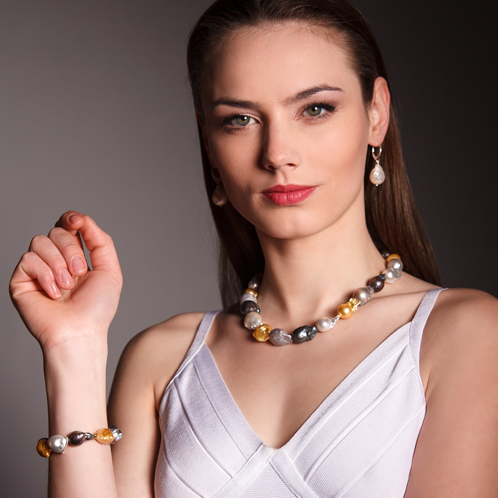 HONG BOCK-Süsswasser Perlen Barocke kette in ca 15x17mm Perle größe, Mutiecolour mit Carabiener Verschluss.-2525