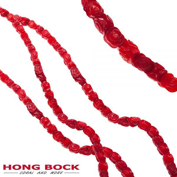 HONG BOCK- rote Bambuskorallen stränge geschnitzt blumen-0