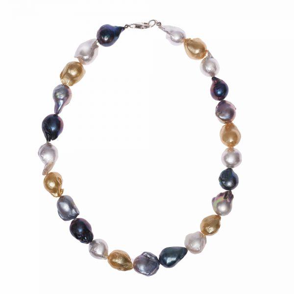 HONG BOCK-Süsswasser Perlen Barocke kette in ca 15x17mm Perle größe, Mutiecolour mit Carabiener Verschluss.-0
