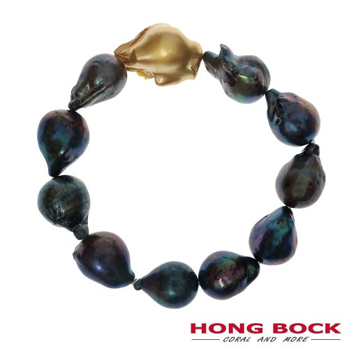 HONG BOCK-Süsswasser perlen Barocke Armband in Dunkelgrau-0