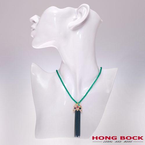 HONG BOCK-Design - Schal-Halskette aus grünen Edelstein -0
