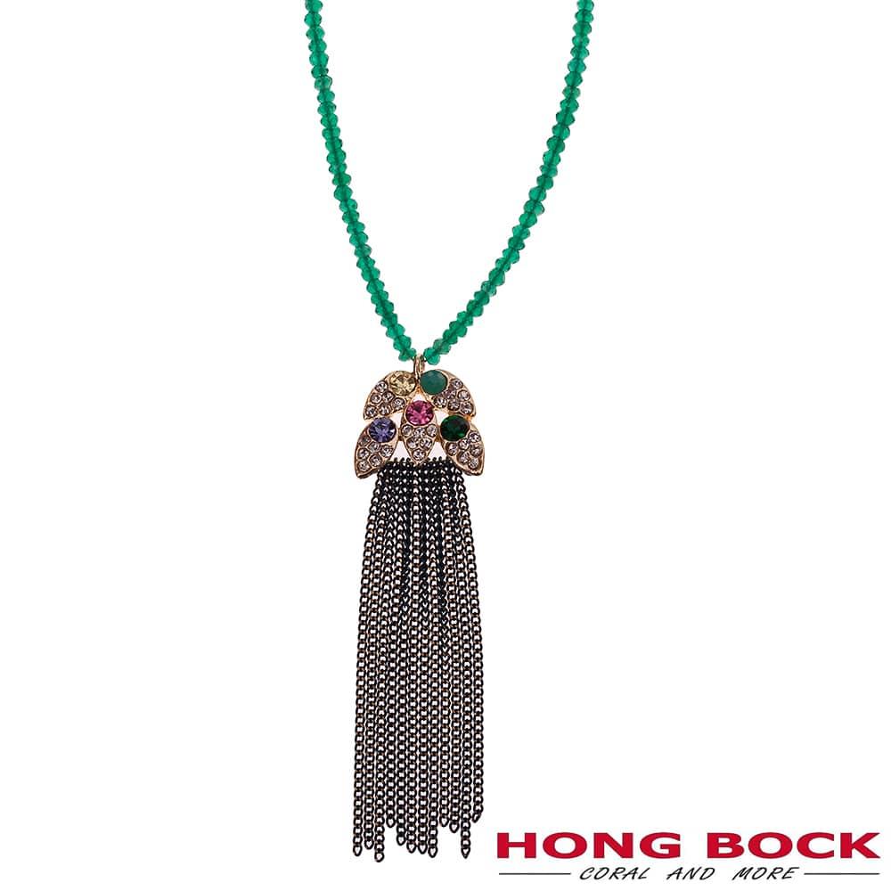 HONG BOCK-Design - Schal-Halskette aus grünen Edelstein -2455