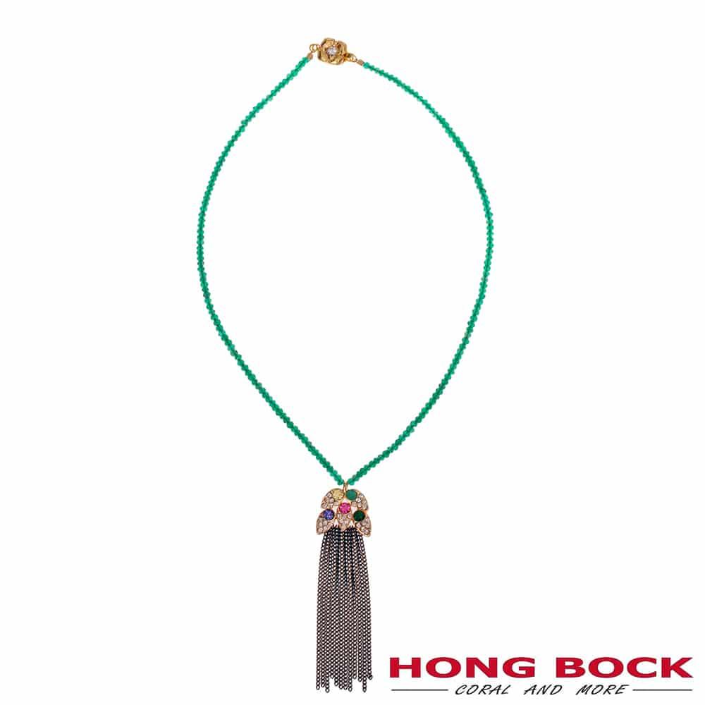 HONG BOCK-Design - Schal-Halskette aus grünen Edelstein -2454