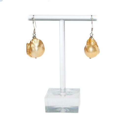 HONG BOCK-Paar Ohrringer in gold Barock Perle . ca 15x17mm-0