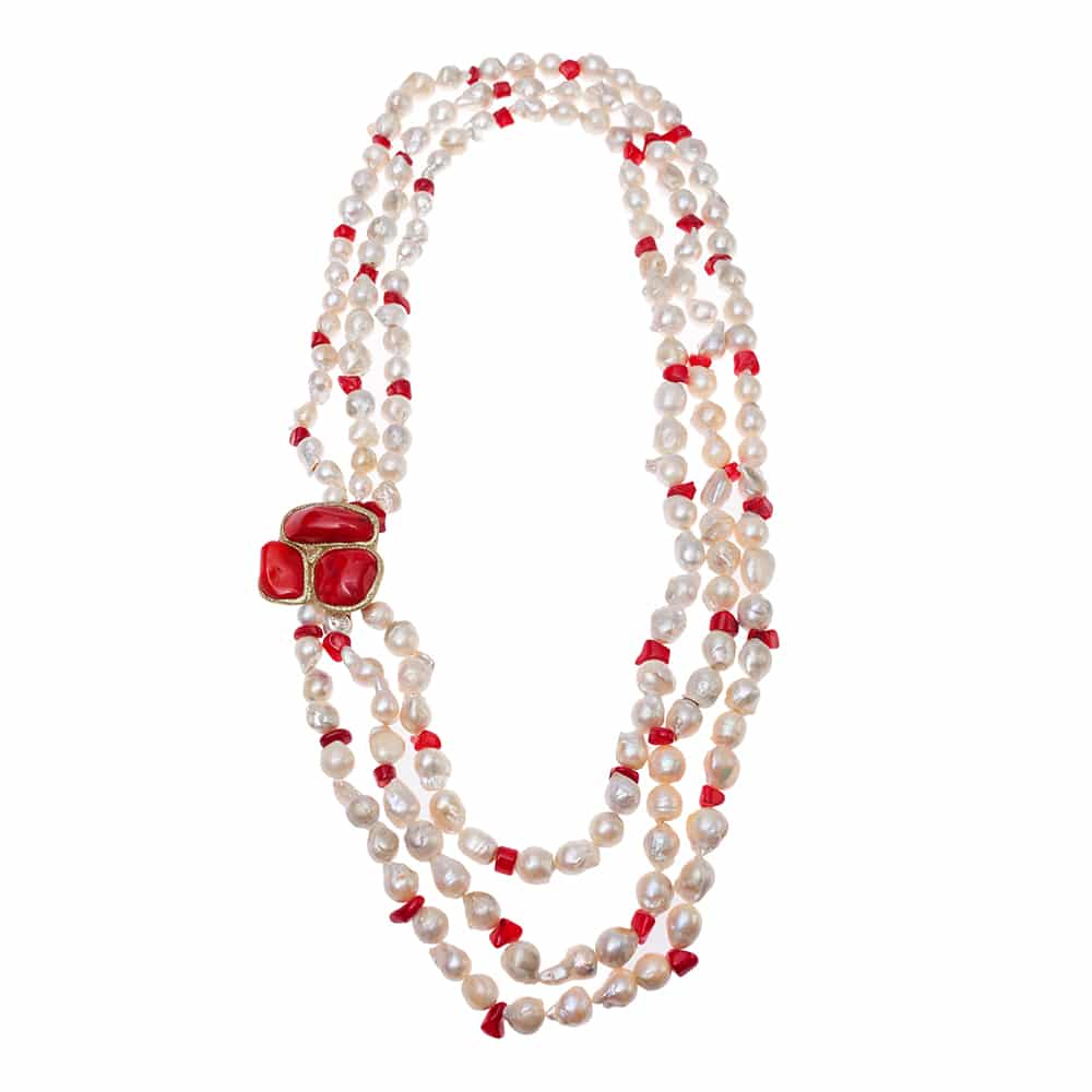 HONG BOCK-Design - Süßwasser-Perlenkette, 3 reihig, mit rotem Korallenelement-2475