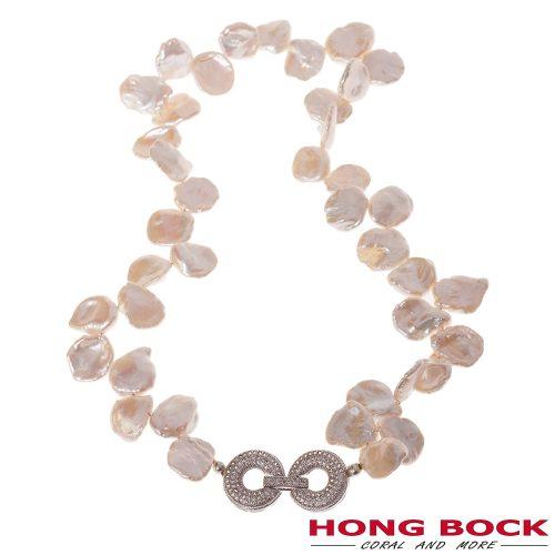 HONG BOCK Design - weiße Süßwasser-Barockperlenkette, blättrig geknotet mit Zierverschluss-0
