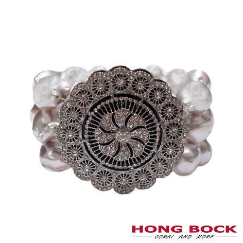 HONG BOCK-Design - Armband, 4 reihig, mit Barockperlen, Zirkonien und Medaillon-0