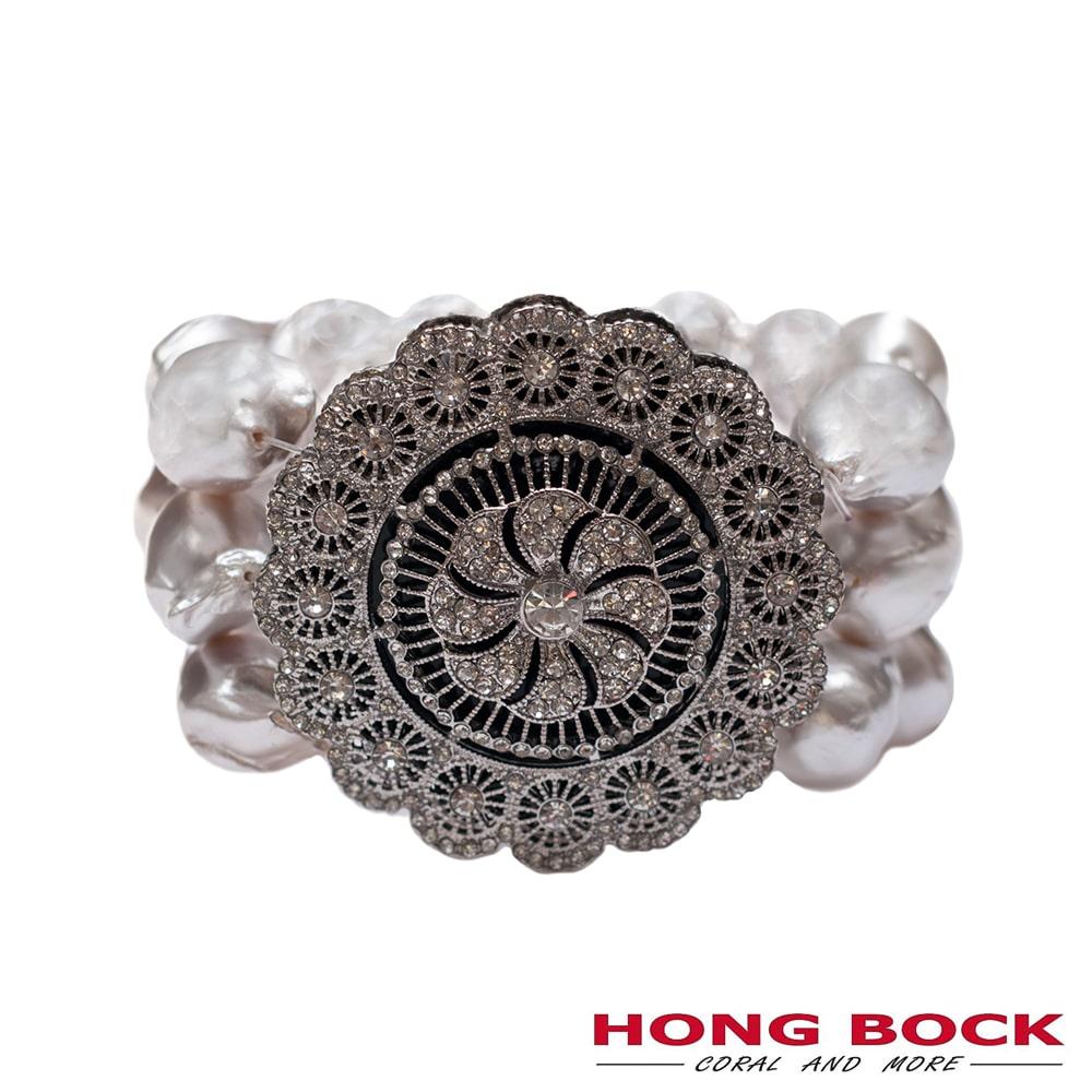 HONG BOCK-Design - Armband, 4 reihig, mit Barockperlen, Zirkonien und Medaillon-2537
