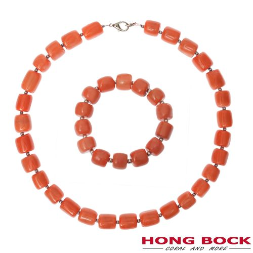 HONG BOCK-Design - Ensemble aus lachsroter Bambuskorallenkette mit passendem Armband-0