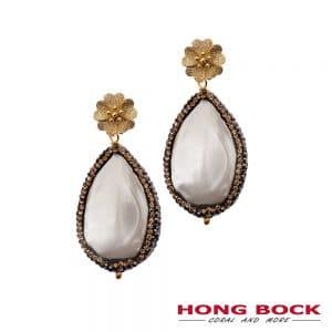 HONG BOCK-Süsswasser Perlen Barocke Ohrring in 23x30mm-weiß-0