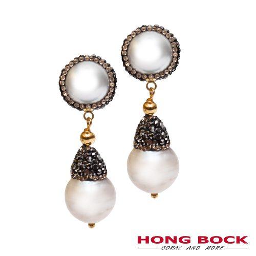 HONG BOCK- Design Barock Perlen Ohrringe mit Silberstecker-0