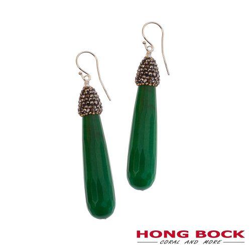 HONG BOCK-grüne Jade Ohrringe in Silberhaken.-0