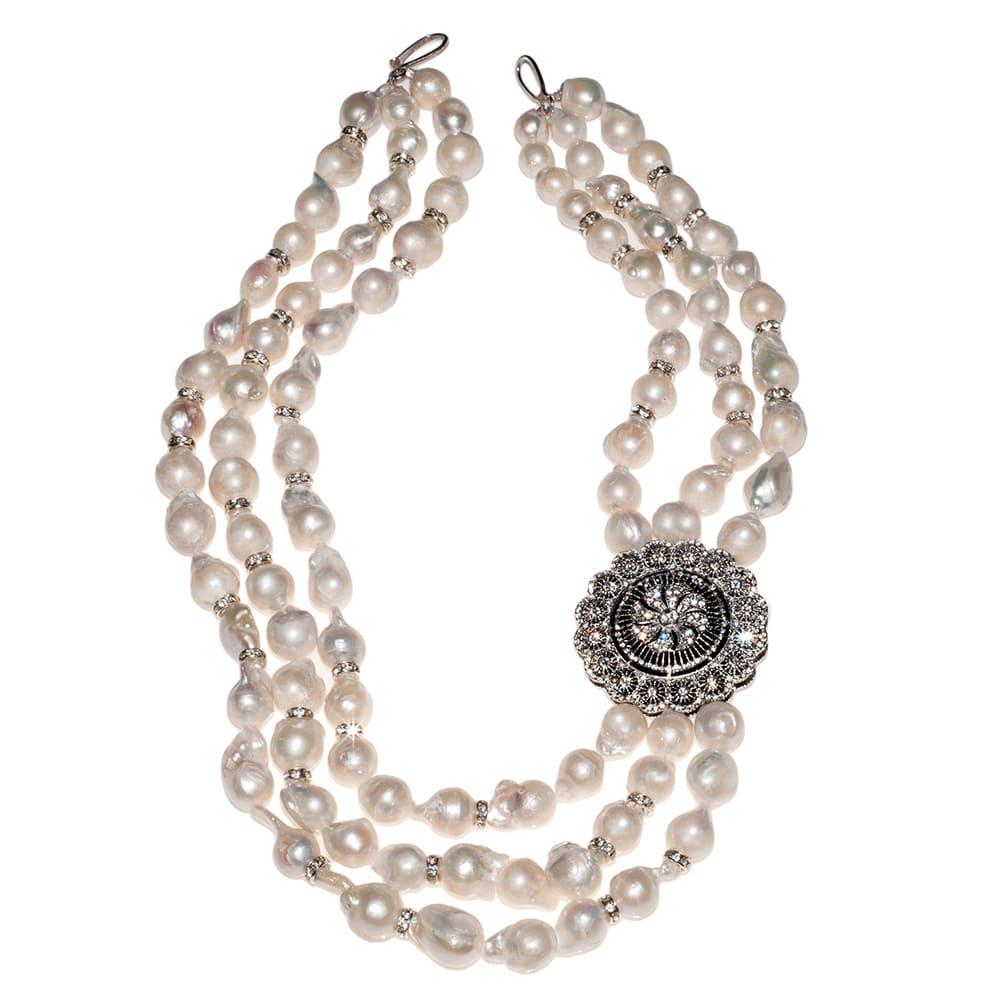 HONG BOCK-Süsswasser Perlen Barocke kette in weiß und Silber-2685