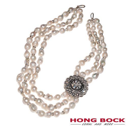 HONG BOCK-Süsswasser Perlen Barocke kette in weiß und Silber-0