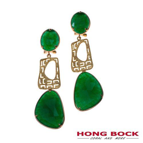 HONG BOCK-Design Ohrringe in grüne Achat und gold in 70mm lang.-0