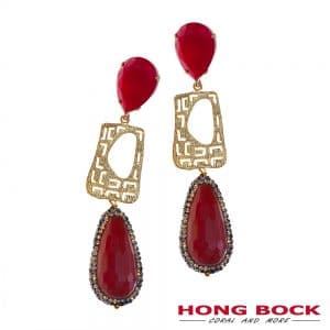 HONG BOCK- Design Ohrringe in gold und rote Achat in 70mm lang-0