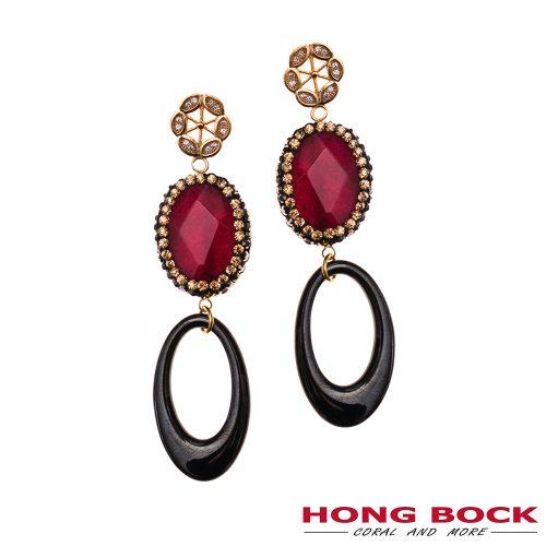 HONG BOCK-Design -Ohrringe aus roten Achat und schwarze Onyx-0