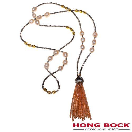 HONG BOCK-Design Kette aus Peurit und Perlen in weiß und Silber in 80cm lang-0