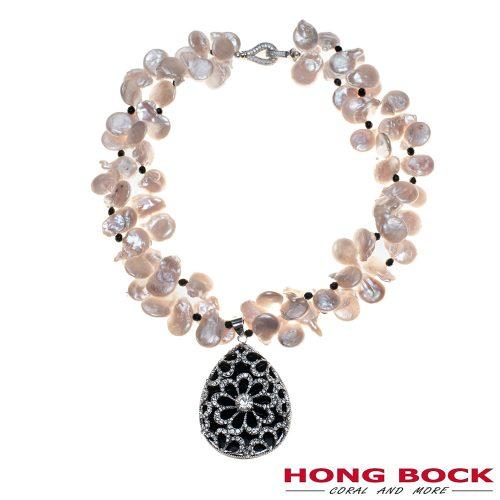 HONG BOCK-Design Kette-2 reihige kette mit tropfenfömigen Perlen und Onyx-Kugel-0
